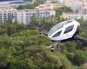 The EHang 184 single-seat Autonomous Aerial Vehicle began flight testing in 2016.