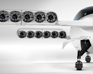 Lilium Jet is powered by 36 electric motors each powering ducted fans in the aircraft's tilting wings.