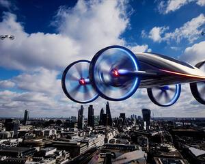 Artist's impression of VRCO's NeoXcraft eVTOL aircraft.