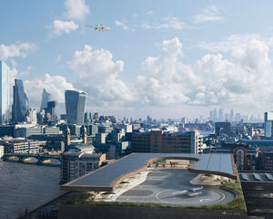 Lilium Air Taxi approaching London landing pad
