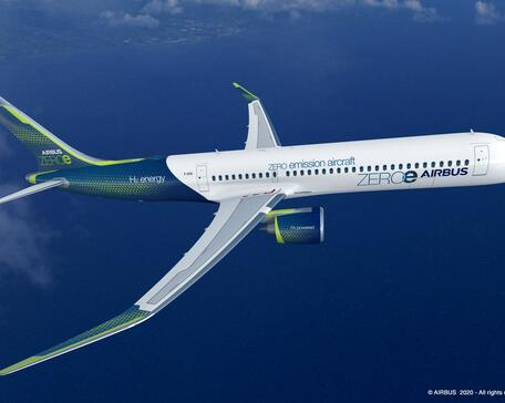Airbus ZeroE hydrogen-powered turbofan airliner.